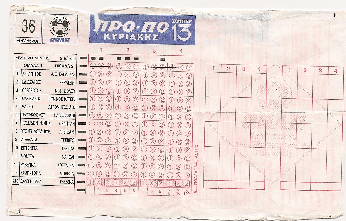 Schedina greca