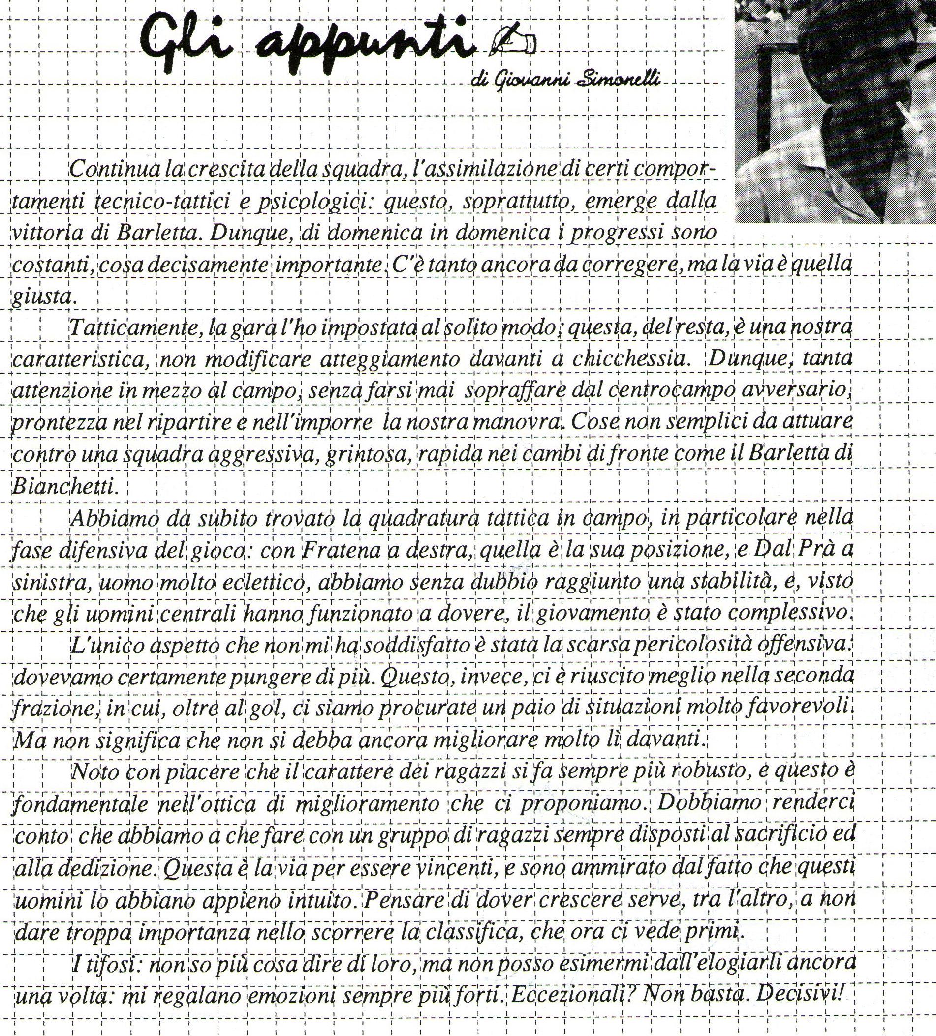 Il commento di Mister Simonelli